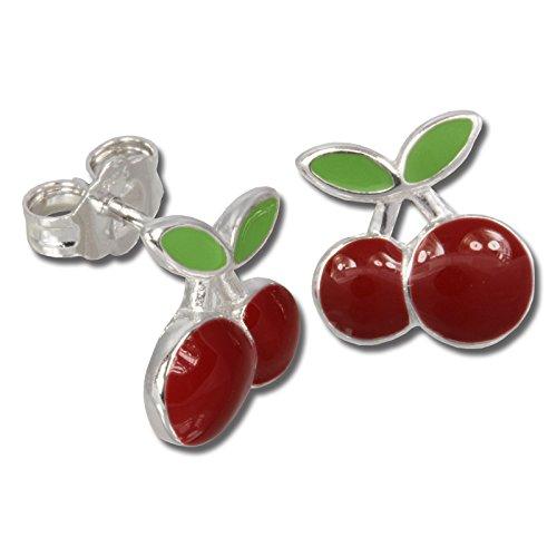 Teenie-Weenie Ohrringe Kinder 925 Silber Ohrstecker Kirschen rot grün SDO609R