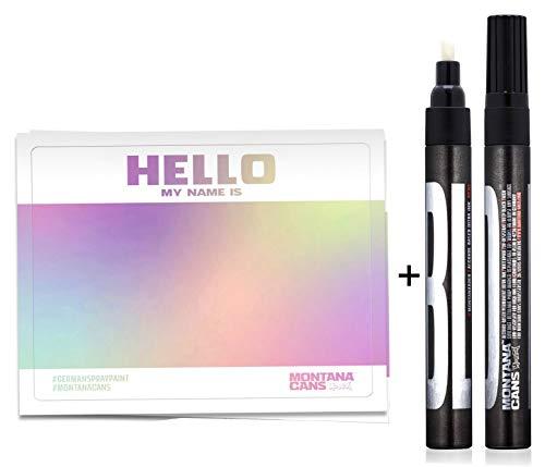 "montana ""Hello My Name is…"" Hologram Effect Sticker 50er Pack + 1 Permanent Bold Marker schwarz 3mm Mine"