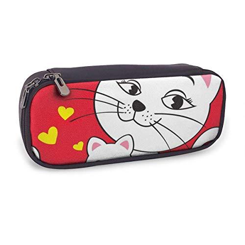 Pencil Case Pen Bag,Cartoon Cat,Large Capacity Pen Case Pencil Bag Stationery Pouch Pencil Holder Pouch with Big Compartments
