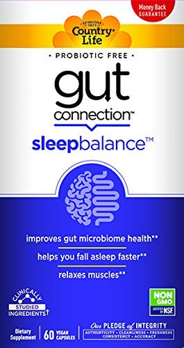 Country Life Gut Connection - Sleep Balance - 60 ct - May Improves Gut Microbiome Health - Relaxes Muscles - Promotes Mental Calmness - EpiCor