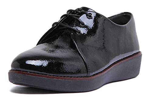 FitFlop Derby Crinkle Patent, Zapatillas de Gimnasia para Mujer