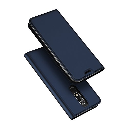 DUX DUCIS Hülle für Nokia 5.1, Leder Flip Handyhülle Schutzhülle Tasche Case mit [Kartenfach] [Standfunktion] [Magnetverschluss] für Nokia 5.1 (Blau)