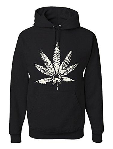 Men's Pot Leaf Graphic Hoodie Marijuana 420 Hooded Fleece Sweatshirt Black