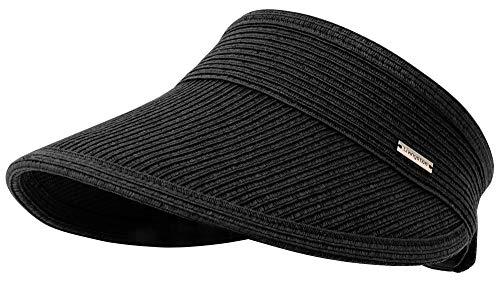 Livingston Sun Visors for Women Black Sun Hat Wide Brim Beach Hat UV Protection Straw Hat Black