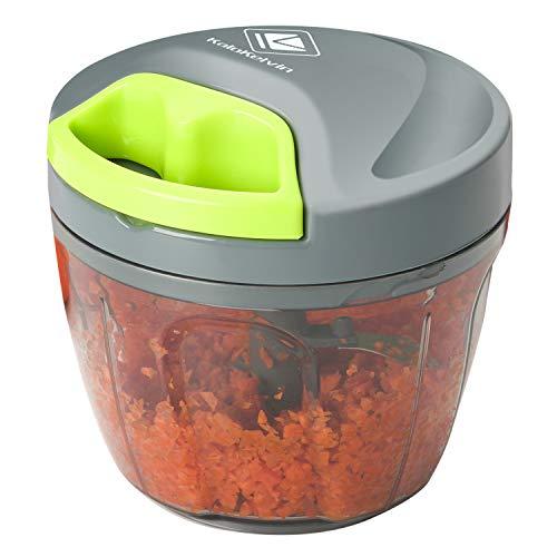 Kalokelvin Picadora de Alimentos Manual, Cortador de Verduras, Picador con 3 Cuchillas Usado para Corta Verduras,Carne,Hierbas,Alimento para Bebé (650ml)