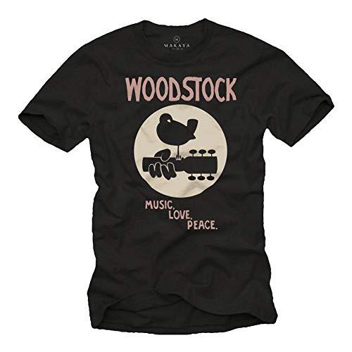 MAKAYA Woodstock T-Shirt Herren - Music Love Peace - Schwarz 60s 70s 80s Geschenke für Musiker Männer Größe XXXXL