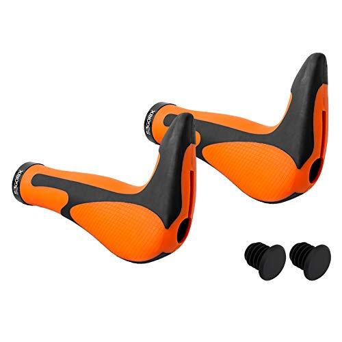 GORIX Bike Ergo Grips Bar End Cycle Lock On Handlebar Mountain Bicycle MTB (GX-849AD3-L1-G2) (Orange×Black)