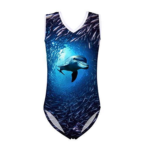 Showudesigns Tier-Badeanzug, Einteiler für Kinder, Mädchen, ärmellos, Sommer, Strand, Größe 5–14 Gr. 11-12 Jahre, Delfin