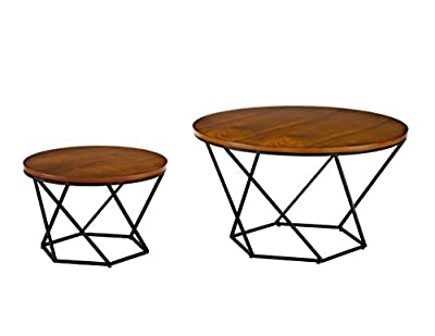 Walker Edison Furniture AZF28CLRGWBL Modern Round Nesting Coffee Accent Table Living Room, Walnut/Black