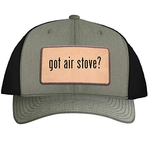 got air Stove? - Leather Light Brown Patch Engraved Trucker Hat Heather-Black, One Size