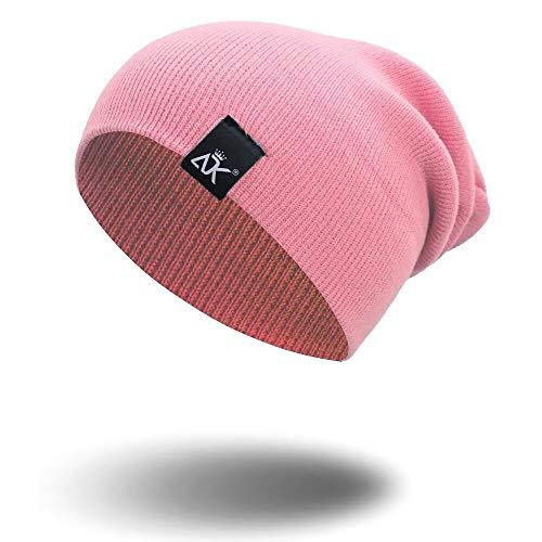 WAZHX Sombrero De Punto Gorro Cálido para Hombre Hip Hop Sombreros De Invierno Unisex Color Sólido Capó Casual Skullies Gorros Gorros De Otoño para Adultos Rosa