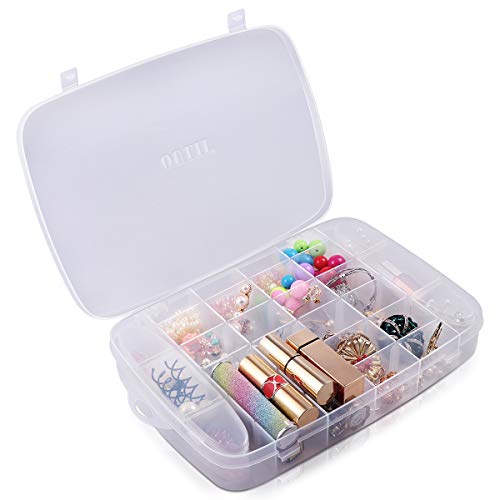 OULII 30 Grids Clear Plastic Jewelry Box Organizer Storage Container Box Makeup Ring Earring Necklace Organizer Storage Case with Adjustable Dividers (Transparent)