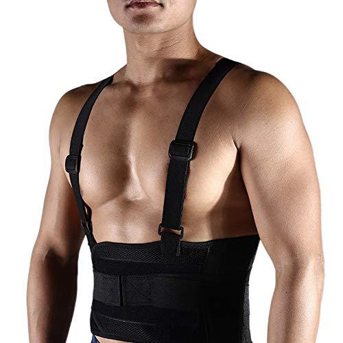 Domilay Verstellbarer Taillen Tr?Ger GüRtel M?Nner Lumbar Fitness Gewicht Heben Laufen ZurüCk GüRtel mit Schulter Gurten Atmungsaktiv XL.