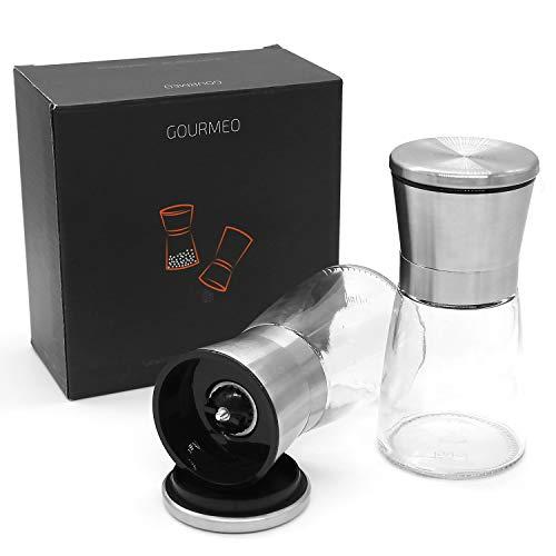 GOURMEO Gewürzmühle 2er Set mit verstellbarem Keramikmahlwerk – Edle Salz- und Pfeffermühle aus hochwertigem Edelstahl – für Verschiedene Gewürze einsetzbar