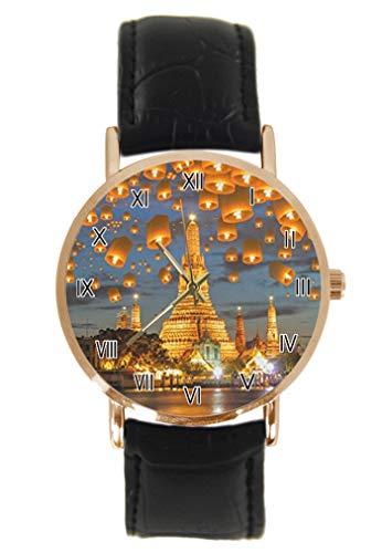 Schwebende Lampe in Yee Peng Festival Bangkok Thailand Armbanduhr Mode Klassisch Unisex Analog Quarz Edelstahl Gehäuse Lederband Uhren