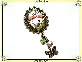 Brosche Retro Harz FLAMINGO Flamingo grün Anis Messing Bronze Perlen Glas personalisierte Geschenk Noel Freund Geburtstag Hochzeit Valentinstag Gast Muttertag Herrin