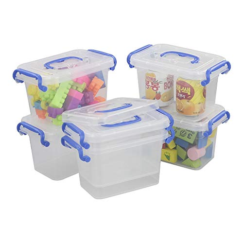 Xowine Mini caja de almacenamiento de plástico transparente de 1,8 l con asa azul, juego de 6