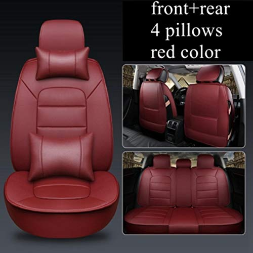 JYPZSH Funda De Asiento De Coche Universal para Jeep Grand Cherokee Compass Renegade Wrangler Jk Wrangler Mini Cooper Land Rover Freelander Discovery-5Seat Rojo