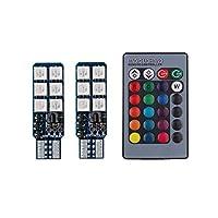 LED RGB16色 12SMD T10 T13 T15 T16 発光パターン切り替え 12V リモコン付 汎用 キャンセラー付き 5050チップ SDM便
