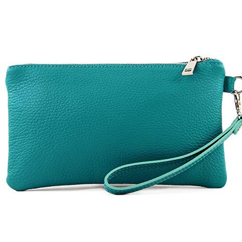 modamoda de - T193 - Clutch italiano/Bolso de mano Cuero Pequeño, Color:azul turquesa