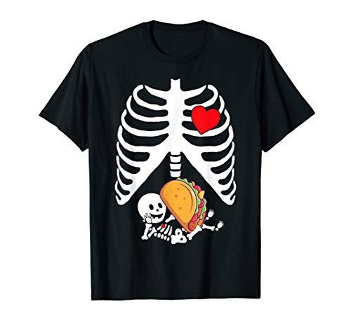 Pregnancy Announcement Halloween Skeleton Baby Tacos Xray T-Shirt
