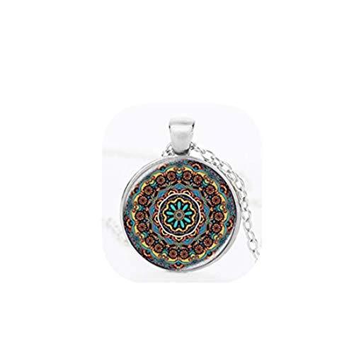 Collar vintage con colgante de cúpula de cristal con diseño de mandala, estilo vintage, cadena de aleación, joyería para mujeres y hombres (2)