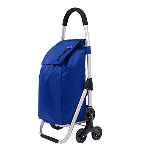WPCBAA EVA tire multi-function shopping cart folding aluminum frame trolley Oxford cloth high load shopping trolley (Color : Blue)