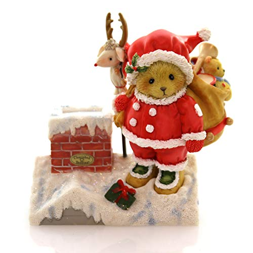 Enesco Cherished Teddies 4047378 Santa on Rooftop with Toys Retired