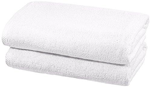 Amazon Basics - Juego de 2 toallas de secado rápido, 2 toallas de baño - Blanco
