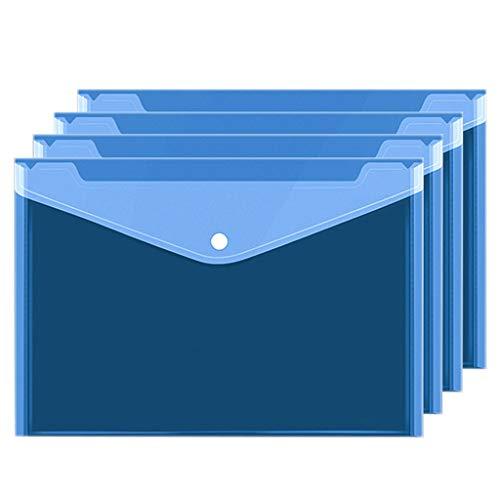 YKW Carpeta Bolso Transparente del Archivo de Carpetas A4 Bolsa con Cierre a presión for Oficina Carpeta de cuadrícula Lienzo de la Prueba de Papel Multicapa 20PCS (Color : Blue)