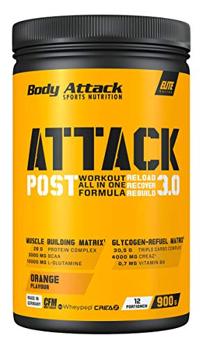 Body Attack POST ATTACK 3.0, Post-Workout-Shake mit Maltodextrin, Creatin, Whey Protein Isolate und Glutamin, 900g, Orange