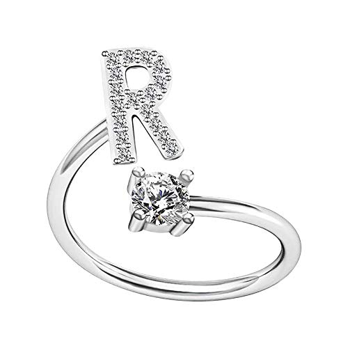 JURTEE Rings Women Silver Rings Fashion Alphabet Ring Girls Adjustable Rings Opening Crystal Rings Chic Jewelry Gifts for Her