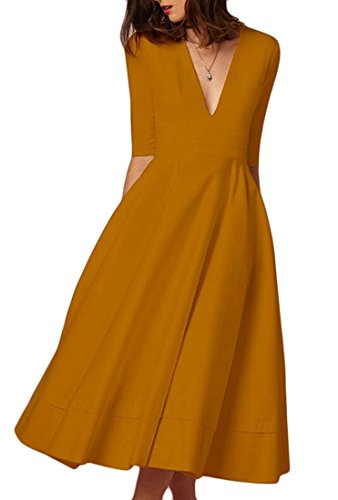Women's Elegant Half Sleeve Deep V Neck Vintage Cocktail A-line Midi Dress Bronze S