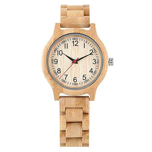 GIPOTIL Reloj de Madera de bambú Natural para Mujer, Brazalete de Madera Completo, Reloj de Pulsera de Cuarzo para Mujer, números árabes Informales de Moda, Relojes para Mujer, Reloj de Madera para