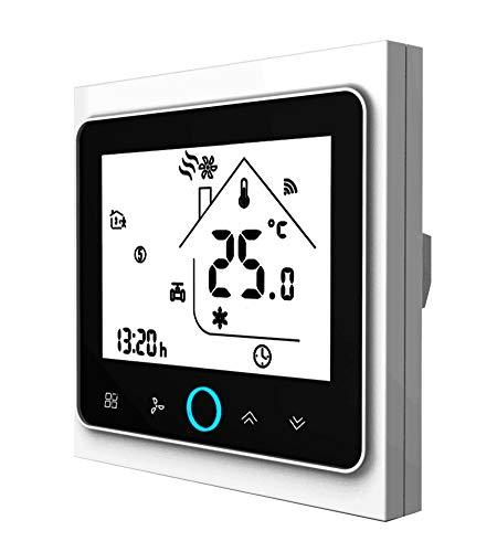 Qiumi Smart Wifi Thermostat, Temperaturregler Intelligente Klimaanlage, programmierbarer Temperaturregler, mit 2-Röhren-LCD-Bildschirm, Kompatibel mit Alexa Googlehome