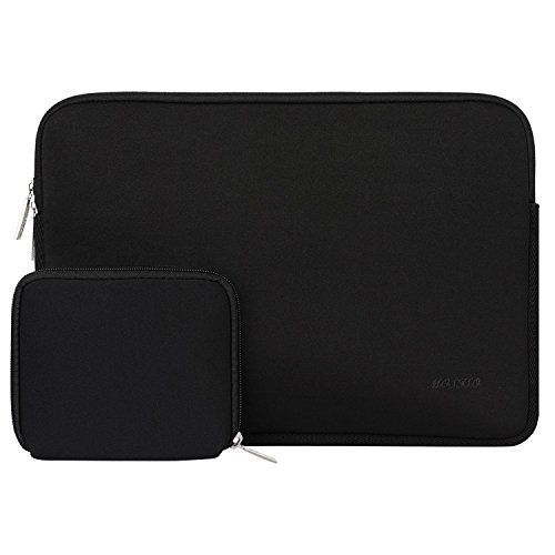MOSISO Laptop Sleeve Compatible with MacBook Air 13 inch M1 A2337 A2179 A1932/MacBook Pro A2338 M1 A2251 A2289 A2159 A1989 A1706 A1708, Water Repellent Neoprene Bag with Small Case, Black