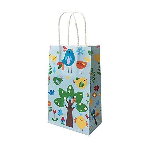 10 Unids/lote Multifunciones Lindas Bolsas de Papel Animal con Mango Año Nuevo para niños Fiesta Paquete de Compras Reciclable Bolsa 13 * 22 * 8 cm-Pájaro_El 13x22x8cm