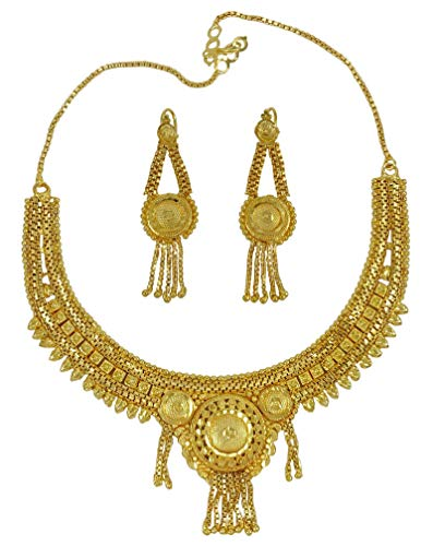 Banithani Traditionell 18K Vergolden Ketten-Ohrring-Satz-Braut Frauen Schmuck