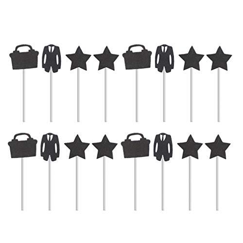 Amosfun Creatieve Taart Toppers Suit Stars Koffer Cupcake Picks Decoraties Baby Douche Verjaardag Feest Feestartikelen Stijl 4 8.5*8.5*0.2cm 40 stks Stijl 4