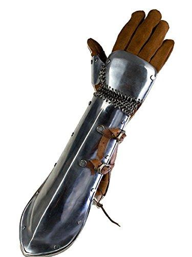 Epic Armoury 1 Paar Bazu Band Armschienen aus poliertem Stahl Armschützer Armschoner LARP Mittelalter Schaukampf Wikinger
