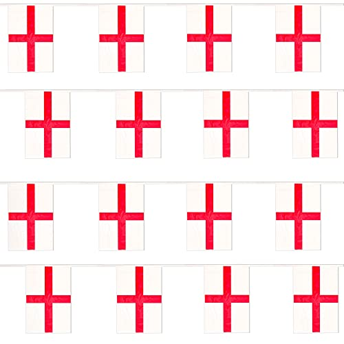 England Flag Bunting - 5m 16ft - 10 Large Flags - Polyester all Weather English - St Georges Day Bunting Decoration for Indoor Outdoor Sporting Events, Street Parties, Festivals and Celebrations