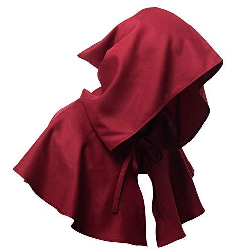 Erthree Capa para sombrero de bruja, disfraz de pagan con capucha para Halloween, disfraz de fiesta de disfraces para hombres y mujeres (rojo vino)