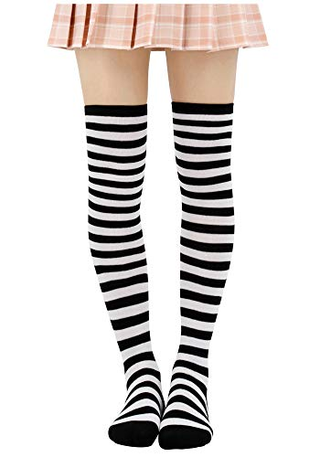 Anime Multicolor Preppy Over Knee Mizore Shimakaze Stripe Stockings (Black+White)