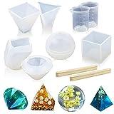 Chikanb Juego de 8Pcs Molde de Silicona para Fundición de Resina y Epoxi Incluye Cubo, Pirámide, Esfera, Diamante, Piedra con Taza de Medición de Silicona y Palos de Madera