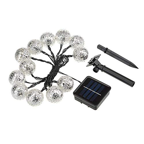Bestland Solar Powered Outdoor String Lights, 12 LED 12ft Metal Fairy Moroccan Silver Globe Lights for Outside Garden Patio Party Christmas (White)