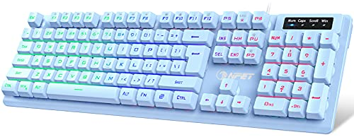 NPET K10 Gaming Keyboard USB Wired Floating Keyboard, Quiet Ergonomic Water-Resistant Mechanical Feeling Keyboard, Ultra-Slim Rainbow LED Backlit Keyboard for Desktop, Computer, PC, Blue