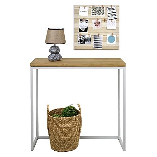 Recibidor iCub Big Wood 80x30x80cm Blanco en Madera Maciza Grosor 3cm Acabado Vintage Estilo Industrial Box Furniture
