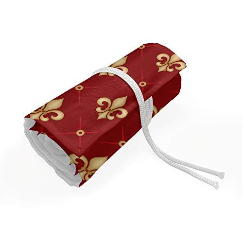 ABAKUHAUS Fleur De Lis Etui met Rolomslag voor Pennen, Epideiktische Monarch Art, Duurzame & Draagbare Potloodetui, 36 Vakjes, Vermilion en Mosterd