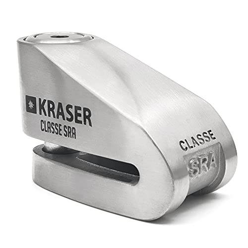 KRASER KR114S Candado Homologado Sra Antirrobo Disco Freno Moto 14mm Doble Cierre, 3 Llaves + Cable Recordatorio, Acero Inoxidable, 14 mm