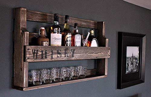Whisky Regal aus Holz - mit Gläserhalter und WHISKY Schriftzug - Braun - Industrie Stil - fertig montiert - Wandbar - Whisky-Regal aus Holz